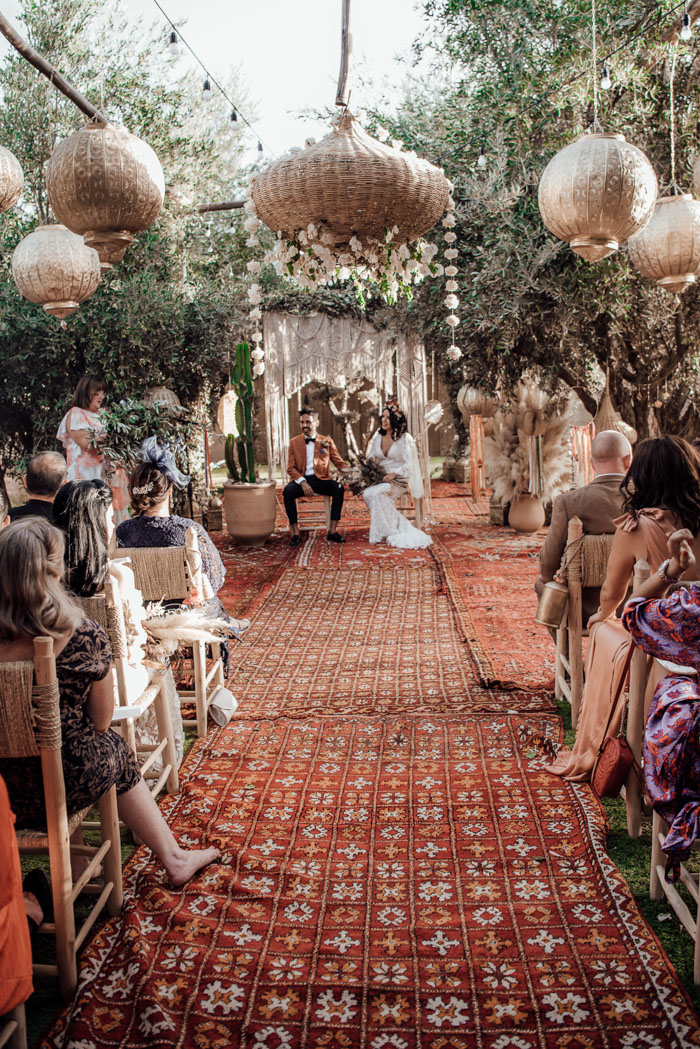 Wedding altar with guests sitting in chairs