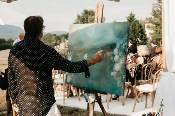 Painter painting on an easel