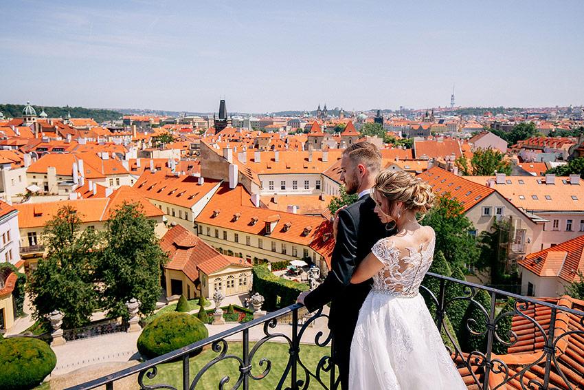 Couple overlooking city